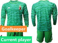 Mens 19-20 Soccer Japan Club Current Player Green Goalkeeper Long Sleeve Suit Jersey
