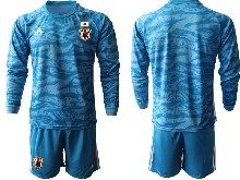 Mens 19-20 Soccer Japan Club Custom Made Blue Goalkeeper Long Sleeve Suit Jersey