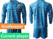 Mens 19-20 Soccer Japan Club Current Player Blue Goalkeeper Long Sleeve Suit Jersey