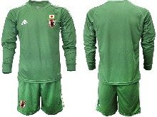 Mens 19-20 Soccer Japan Club Custom Made Dark Green Goalkeeper Long Sleeve Suit Jersey