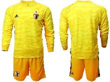 Mens 19-20 Soccer Japan Club Custom Made Yellow Goalkeeper Long Sleeve Suit Jersey
