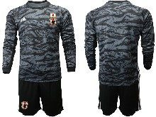 Mens 19-20 Soccer Japan Club Custom Made Black Goalkeeper Long Sleeve Suit Jersey