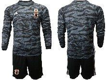Mens 19-20 Soccer Japan Club Custom Made Black Goalkeeper Long Sleeve Suit Jersey