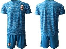 Mens 19-20 Soccer Japan Club Custom Made Blue Goalkeeper Short Sleeve Suit Jersey