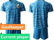 Mens 19-20 Soccer Japan Club Current Player Blue Goalkeeper Short Sleeve Suit Jersey