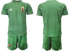 Mens 19-20 Soccer Japan Club Custom Made Dark Green Goalkeeper Short Sleeve Suit Jersey