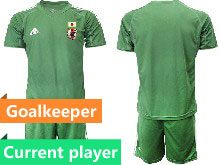 Mens 19-20 Soccer Japan Club Current Player Dark Green Goalkeeper Short Sleeve Suit Jersey