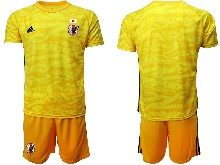 Mens 19-20 Soccer Japan Club Custom Made Yellow Goalkeeper Short Sleeve Suit Jersey