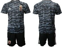 Mens 19-20 Soccer Japan Club Custom Made Black Goalkeeper Short Sleeve Suit Jersey