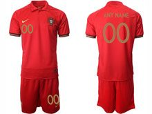 Mens Kids Soccer Portugal National Team Custom Made  Red Home 2020 European Cup Short Sleeve Suit Jersey