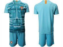 Mens Kids Soccer Portugal National Team ( Custom Made ) Blue Goalkeeper 2020 European Cup Short Sleeve Suit Jersey