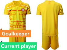 Mens Kids Soccer Portugal National Team Current Player Yellow Goalkeeper 2020 European Cup Short Sleeve Suit Jersey