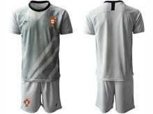 Mens Kids Soccer Portugal National Team ( Custom Made ) Gray Goalkeeper 2020 European Cup Short Sleeve Suit Jersey