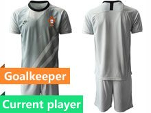 Mens Kids Soccer Portugal National Team Current Player Gray Goalkeeper 2020 European Cup Short Sleeve Suit Jersey
