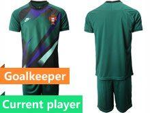 Mens Kids Soccer Portugal National Team Current Player Dark Green Goalkeeper 2020 European Cup Short Sleeve Suit Jersey