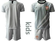 Youth Soccer Portugal National Team ( Custom Made ) Gray Goalkeeper 2020 European Cup Short Sleeve Suit Jersey