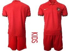 Youth Soccer Portugal National Team ( Custom Made ) Red Home 2020 European Cup Short Sleeve Suit Jersey