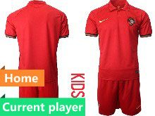 Mens Soccer Portugal National Team Current Player Red Home 2020 European Cup Short Sleeve Suit Jersey