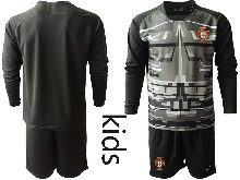 Youth Soccer Portugal National Team ( Custom Made ) Black Goalkeeper 2020 European Cup Long Sleeve Suit Jersey