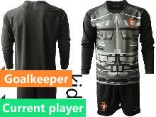 Mens Soccer Portugal National Team Current Player Black Goalkeeper 2020 European Cup Long Sleeve Suit Jersey