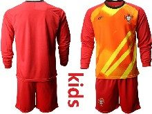 Youth Soccer Portugal National Team ( Custom Made ) Red Goalkeeper 2020 European Cup Long Sleeve Suit Jersey