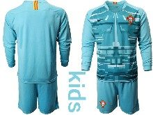 Youth Soccer Portugal National Team ( Custom Made ) Blue Goalkeeper 2020 European Cup Long Sleeve Suit Jersey