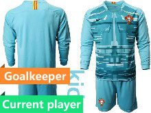 Mens Soccer Portugal National Team Current Player Blue Goalkeeper 2020 European Cup Long Sleeve Suit Jersey
