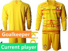 Mens Soccer Portugal National Team Current Player Yellow Goalkeeper 2020 European Cup Long Sleeve Suit Jersey