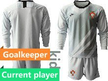 Mens Soccer Portugal National Team Current Player Gray Goalkeeper 2020 European Cup Long Sleeve Suit Jersey
