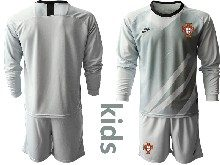 Youth Soccer Portugal National Team ( Custom Made ) Gray Goalkeeper 2020 European Cup Long Sleeve Suit Jersey