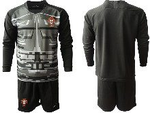 Mens Soccer Portugal National Team ( Custom Made ) Black Goalkeeper 2020 European Cup Long Sleeve Suit Jersey