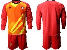 Mens Soccer Portugal National Team ( Custom Made ) Red Goalkeeper 2020 European Cup Long Sleeve Suit Jersey
