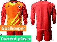 Mens Kids Soccer Portugal National Team Current Player Red Goalkeeper 2020 European Cup Long Sleeve Suit Jersey