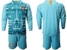 Mens Soccer Portugal National Team ( Custom Made ) Blue Goalkeeper 2020 European Cup Long Sleeve Suit Jersey