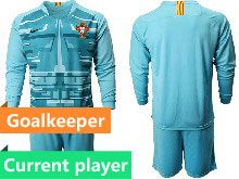Mens Kids Soccer Portugal National Team Current Player Blue Goalkeeper 2020 European Cup Long Sleeve Suit Jersey