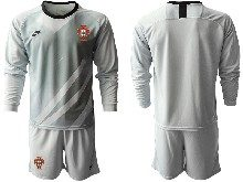 Mens Soccer Portugal National Team ( Custom Made ) Gray Goalkeeper 2020 European Cup Long Sleeve Suit Jersey