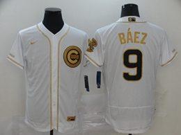 Mens Mlb Chicago Cubs #9 Javier Baez White Throwbacks Golden Flex Base Nike Jersey