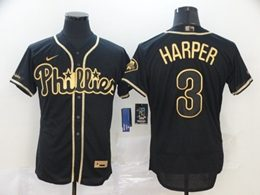 Mens Mlb Philadelphia Phillies Phillies #3 Bryce Harper Black Throwbacks Golden Flex Base Nike Jersey