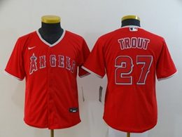 Women Youth Mlb Los Angeles Angels #27 Mike Trout Red Cool Base Nike Jersey