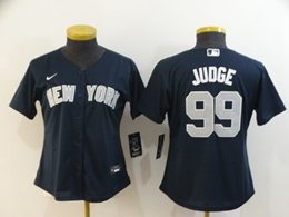 Women Youth New York Yankees #99 Aaron Judge Navy Blue Cool Base Nike Jersey