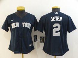 Women Youth Mlb New York Yankees #2 Derek Jeter Navy Blue Cool Base Nike Jersey