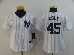 Women Youth Mlb New York Yankees #45 Gerrit Cole White Stripe Cool Base Nike Jersey