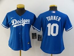 Women Youth Mlb Los Angeles Dodgers #10 Justin Turner Blue Cool Base Nike Jersey