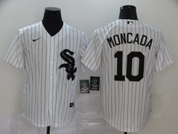 Mens Mlb Chicago White Sox #10 Yoan Moncada White Stripe Cool Base Nike Jersey