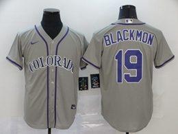 Mens Mlb Colorado Rockies #19 Charlie Blackmon Gray Cool Base Nike Jersey