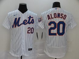 Mens Mlb New York Mets #20 Pete Alonso White Stripe Flex Base Nike Jersey
