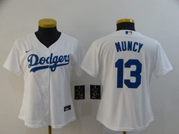 Women Youth Mlb Los Angeles Dodgers #13 Max Muncy White Cool Base Nike Jersey
