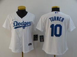 Women Youth Mlb Los Angeles Dodgers #10 Justin Turner White Cool Base Nike Jersey