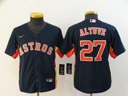 Women Youth Mlb Houston Astros #27 Jose Altuve Blue Cool Base Nike Jersey