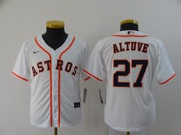 Women Youth Mlb Houston Astros #27 Jose Altuve White Cool Base Nike Jersey